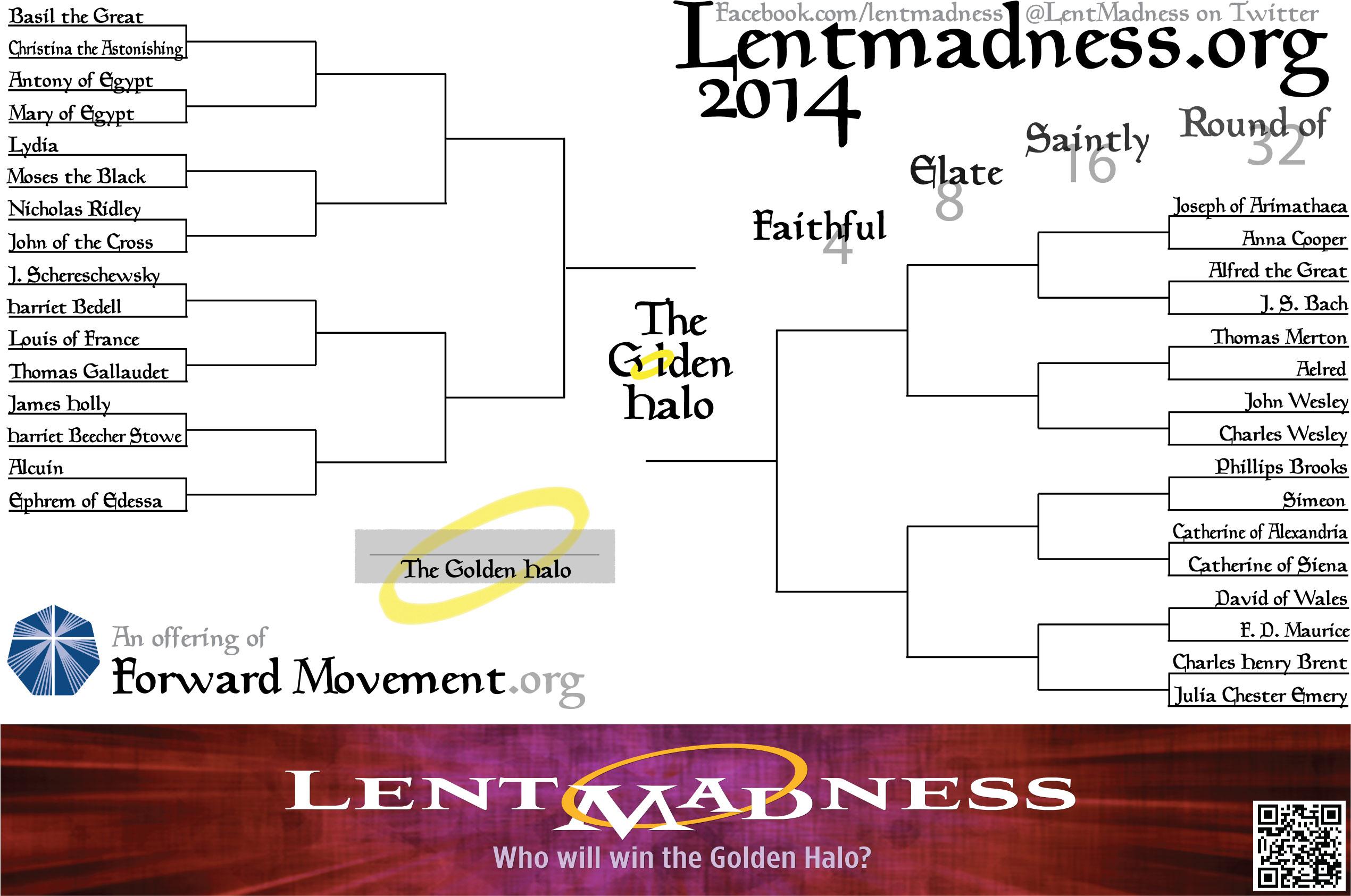 Lent Madness Bracket Poster 2014