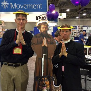 Scott and Tim posing with 2015 Golden Halo Winner Francis of Assisi