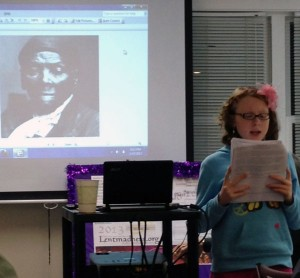 11-year-old Hope Marie Copeland presents on Harriet Tubman at St. Philip's.