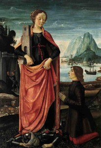 Ghirlandaio_St_Barbara_Crushing_her_Infidel_Father,_with_a_Kneeling_Donor